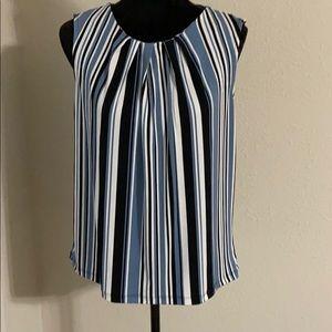 Jones New York NWOT blue/black/white blouse